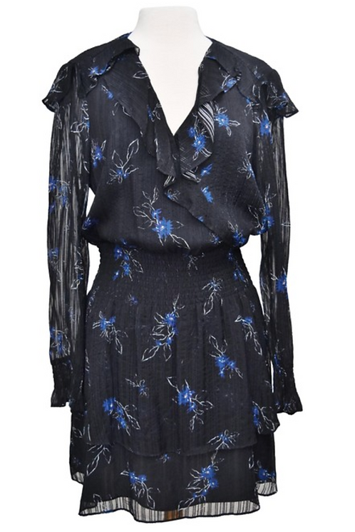 Parker Black Floral Print Dress Size Large