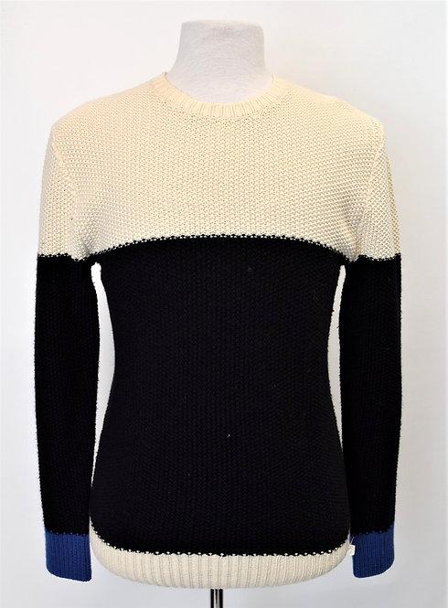 Ovadia Ivory & Black Color Block Sweater Size Large