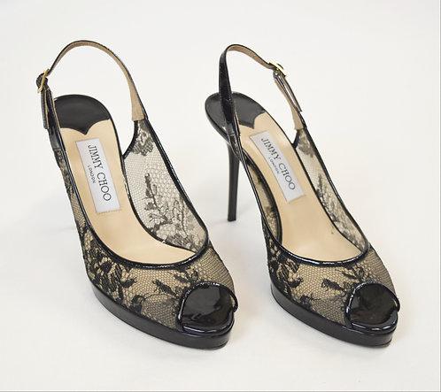 Jimmy Choo Black Lace Heels Size 8.5