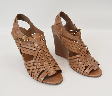 Tory Burch Tan Leather Wedges Size 9.5
