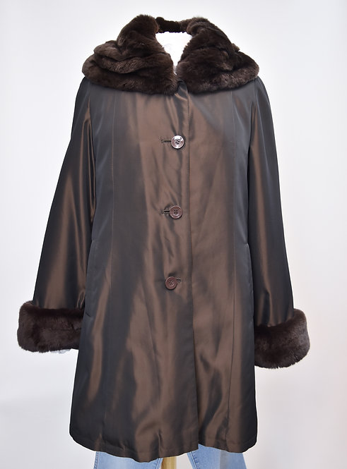 Brown Rabbit Fur Trim Coat Size Large