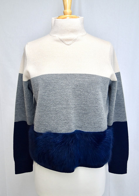 J. Crew Stripe Faux-Fur Trimmed Sweater Size Medium