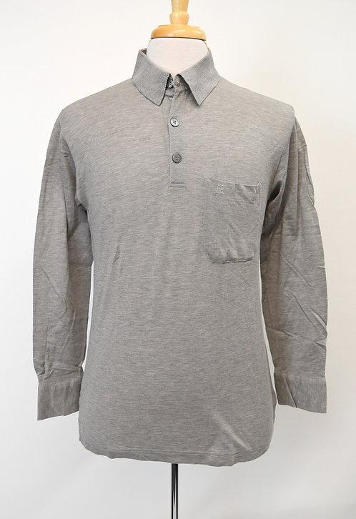 Hermes Gray Long-Sleeve Polo Shirt Size Medium