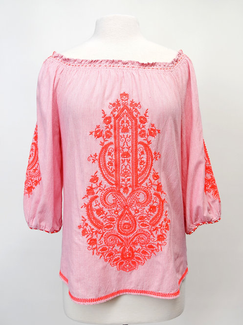Christophe Sauvat Pink Embroidered Top Size Small