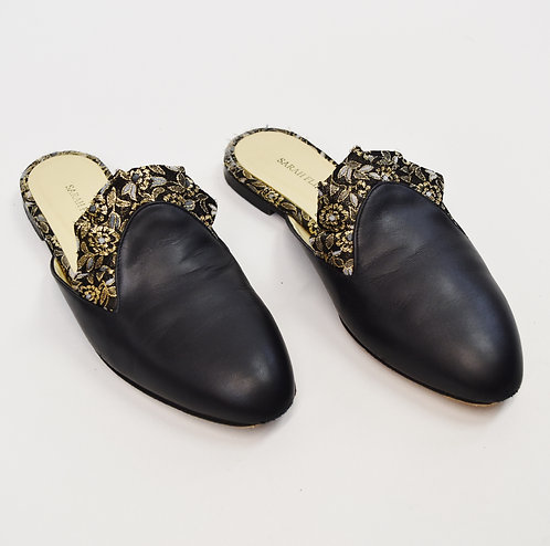 Sarah Flint Black Leather Mules Size 8