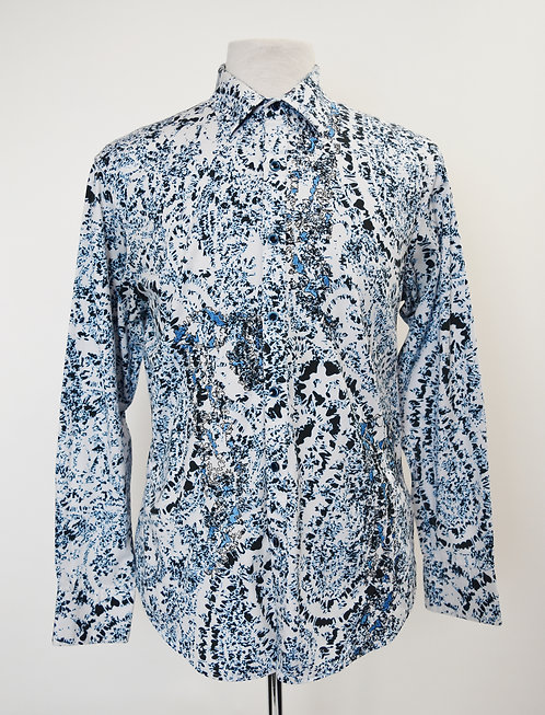 Robert Graham Blue Paisley Print Shirt Size Medium