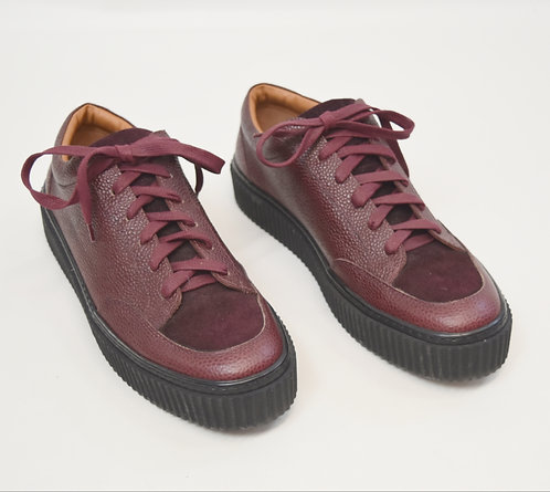 Barney's New York Maroon Leather Sneakers Size 9