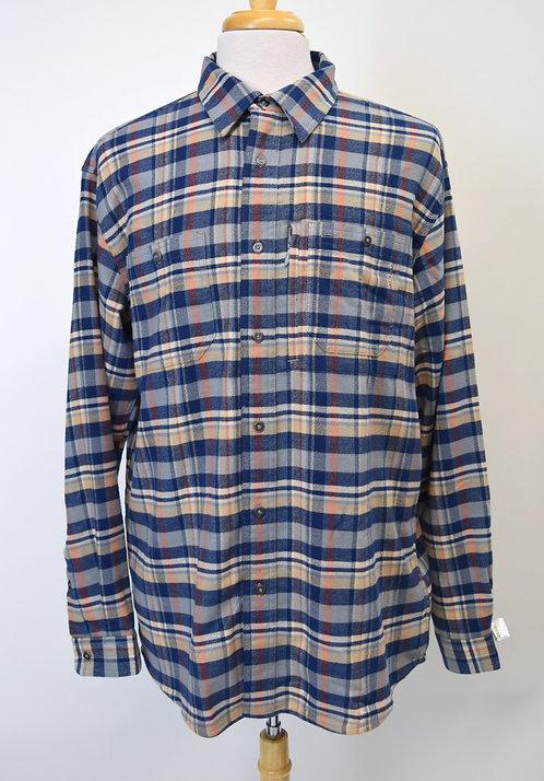 Orvis Blue Plaid Flannel Size Large