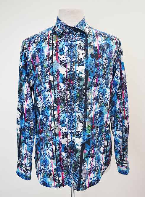 Robert Graham Blue & Purple Print Shirt Size Medium