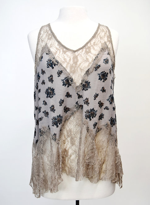 Free People Taupe Lace & Floral Tank Top Size S/M