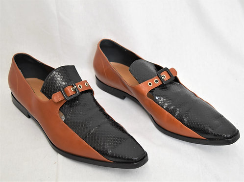 Dries Van Noten Brown & Black Leather Loafers Size 10