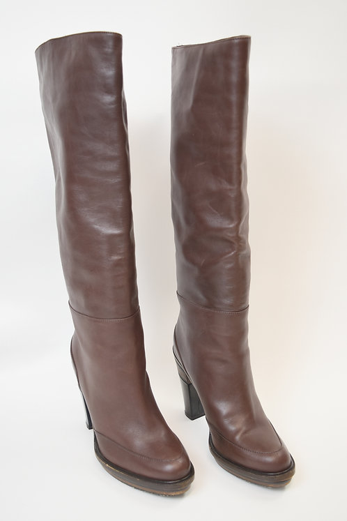 Marni Brown Leather Knee-High Boots Size 10
