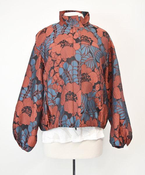 Josie Natori Blue & Amber Jacquard Jacket Size Large