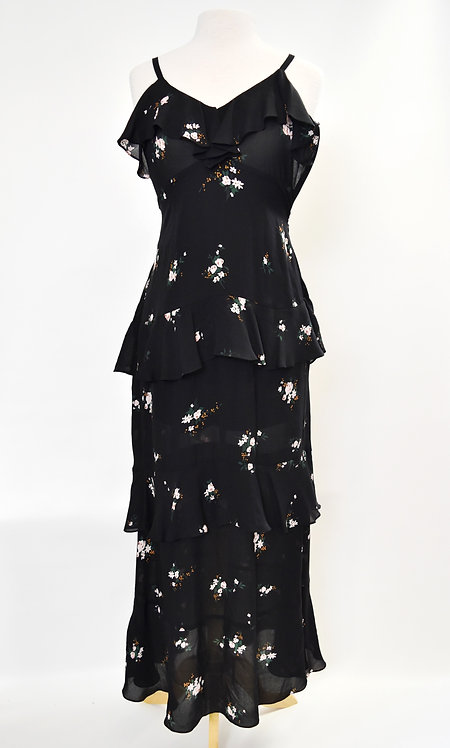 A.L.C. Black Floral Silk Maxi Dress Size 2