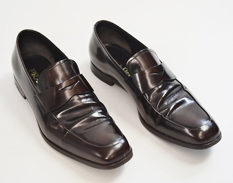 Prada Dark Burgundy Leather Loafers Size 8