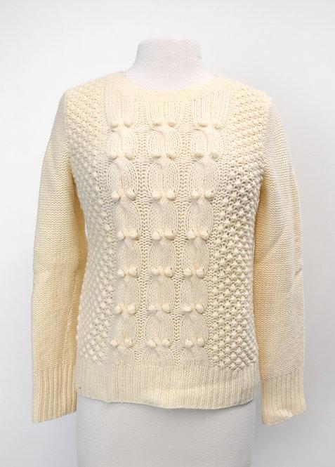 J. Crew Ivory Wool Knit Sweater Size Medium