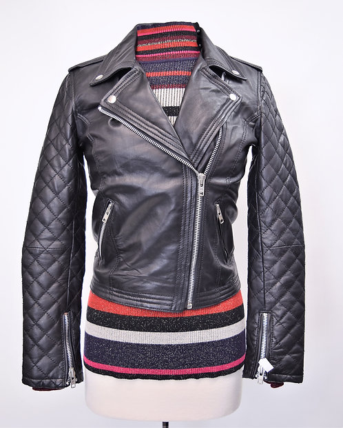 Red Leather Ette Black Leather Jacket Size 10