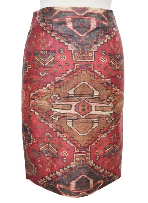 Tory Burch Red Print Pencil Skirt Size 0