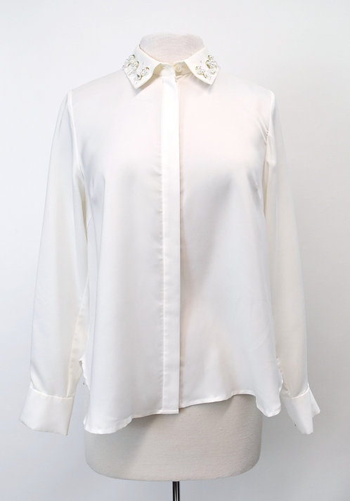 Muveil White Button-Down Blouse Size Small