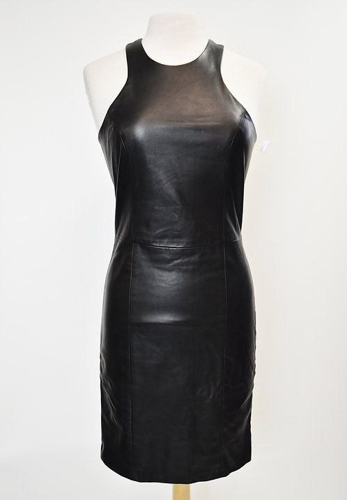 Mason Black Leather & Knit Dress Size 8