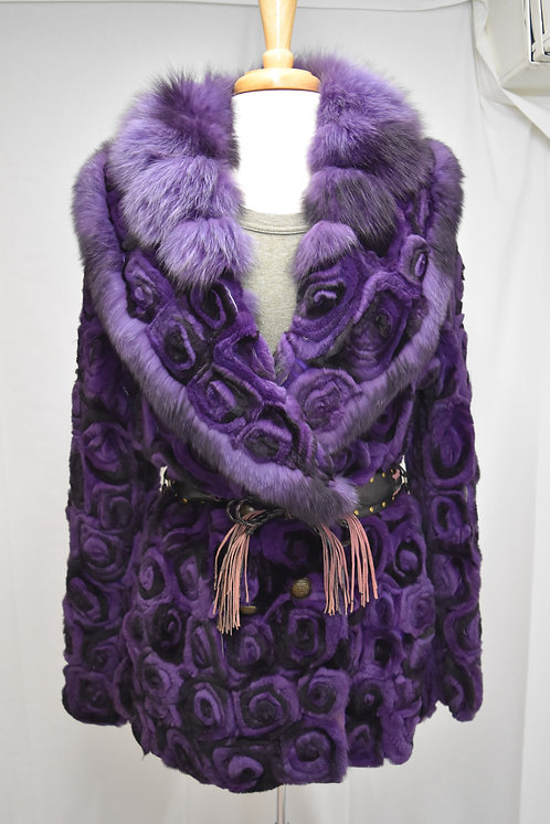 Purple Fox Fur Rosette Coat Size Large/XL