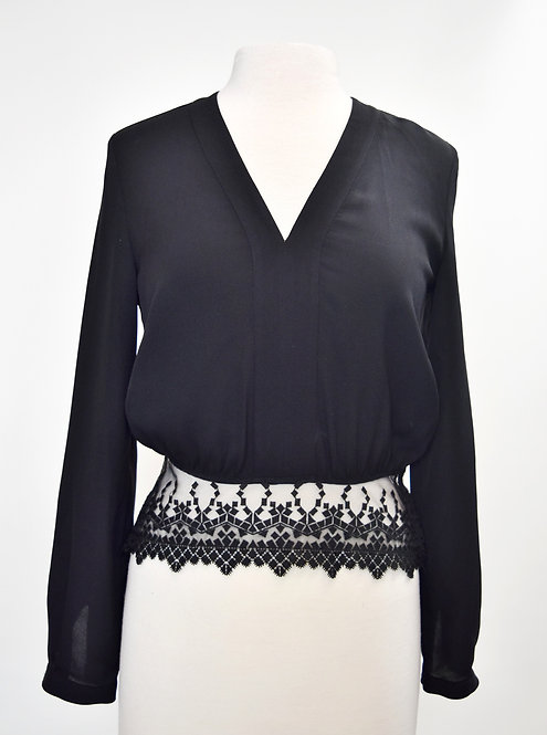 Yigal Azrouel Black Silk And Lace Blouse Size 2