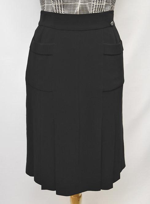 Chanel Black Silk Skirt Size 8