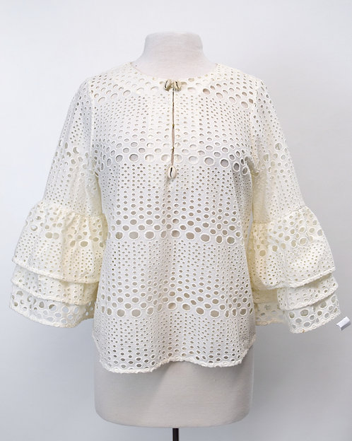 Figue White Eyelet Lace Blouse Size Small