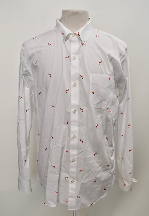Bonobos white print dress shirt size XL