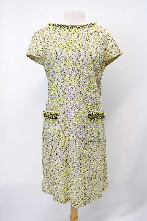 St. John Yellow Tweed Dress Size Large