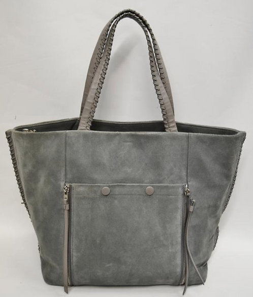 "All Saints ""Fleur De Lis"" Gray Suede Tote"