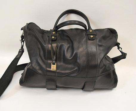 John Varvatos Black Leather Briefcase/Messenger Bag