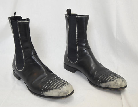 Prada Black Leather Distressed Boots Size 9
