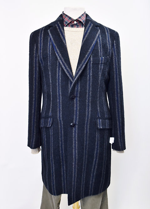 Etro Navy Stripe Wool & Alpaca Blend Coat Size Medium