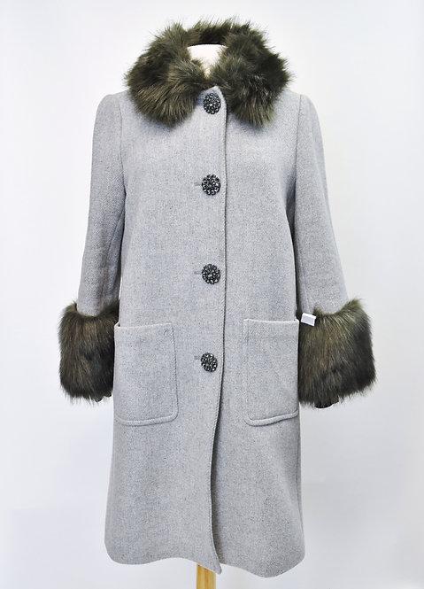 Kate Spade Gray Faux Fur Trimmed Coat Size 8
