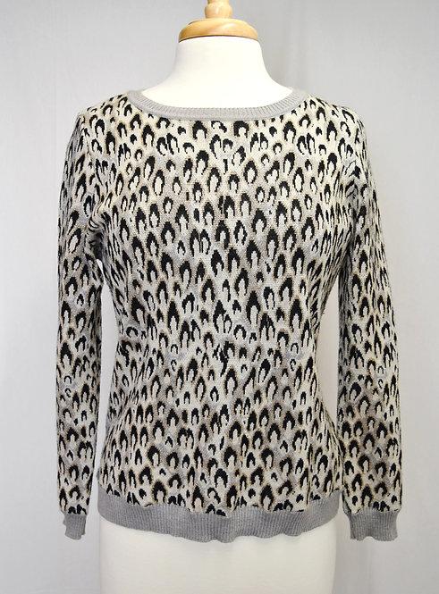 Diane Von Furstenberg Gray Cheetah Print Sweater Size Large