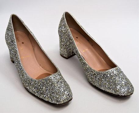 Kate Spade Silver Glitter Heels Size 8