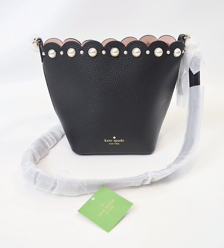 Kate Spade Black Leather & Pearl Trim Purse