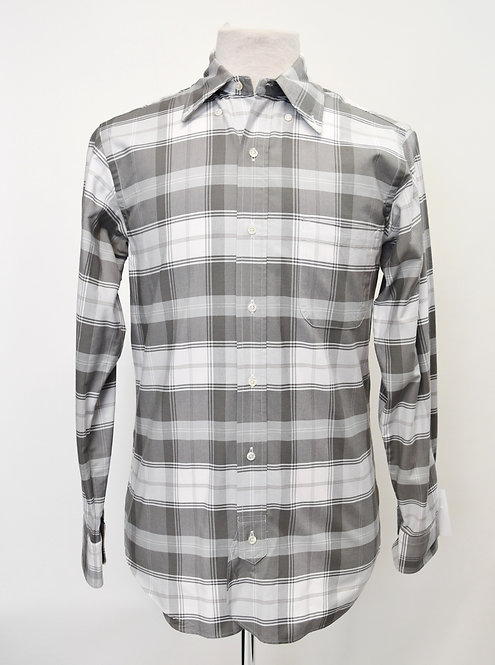 Brooks Brothers Black Fleece Gray Plaid Shirt Size Medium