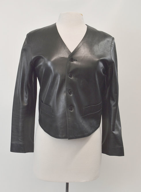 Agnes B Black Leather Jacket Size Small