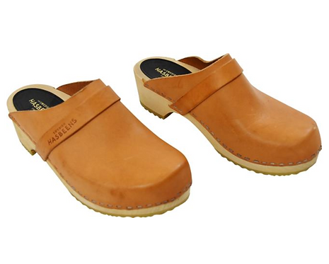 Swedish Hasbeens Tan Leather Clogs Size 6