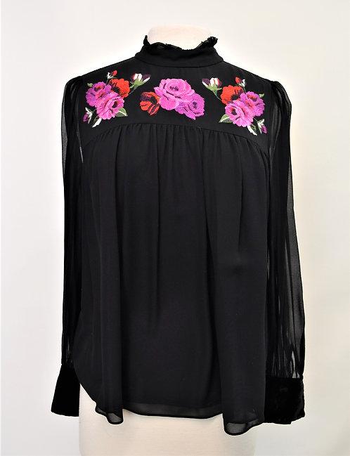 Kate Spade Black Embroidered Blouse Size Medium