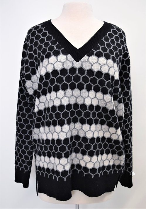 Vince Black & Gray Honeycomb Sweater Size Small
