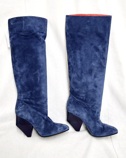 Stephen Venezia Blue Suede Knee-High Boots Size 9