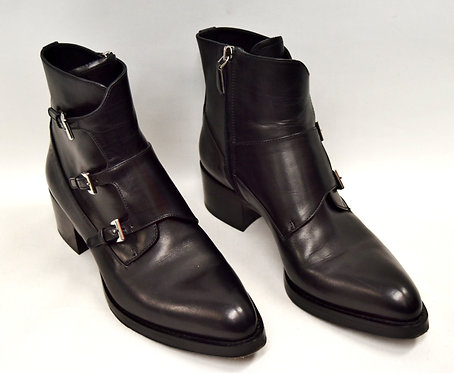 Prada Black Leather Booties Size 7
