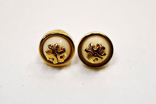 Tory Burch Gold & White Stud Earrings
