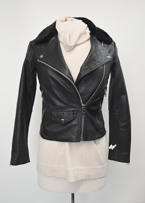 AllSaints Black Buffalo Leather Jacket Size Small