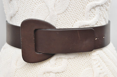 Agnona Dark Brown Leather Belt Size Small