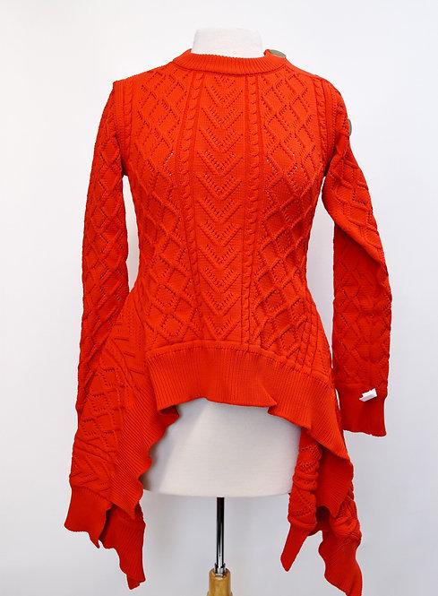 Sonia Rykiel Red Knit High-Low Sweater Size Medium
