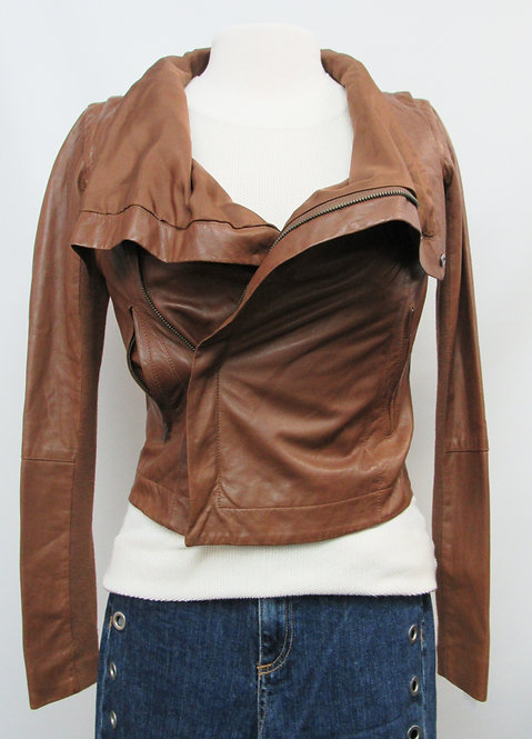 Veda Brown Leather Convertible Jacket Size XS